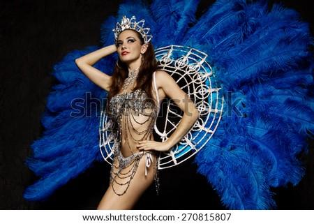 Woman in carnival dress - stock photo