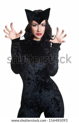 woman in cat-woman costume  - stock photo
