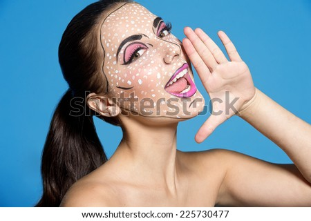 Woman in comics style. Halloween - stock photo
