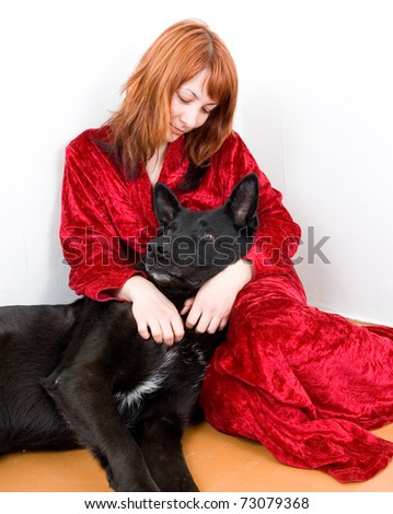 woman in depression whith dog - stock photo