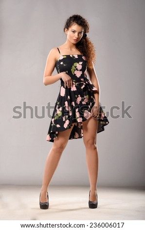 Woman in dress. Pinup. - stock photo