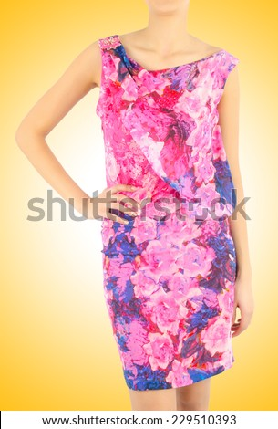 Woman in fashion dress concept on white - stock photo