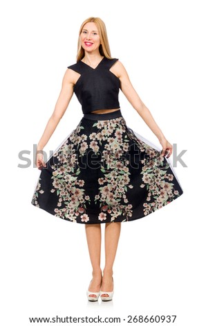 Woman in floral dark skirt isolated on white - stock photo