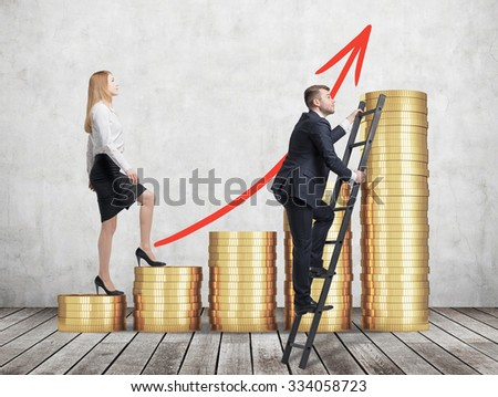 woman in formal clothes is going up through a stairs which are made of golden coins, while a man has found a shortcut how to reach the final point.  - stock photo