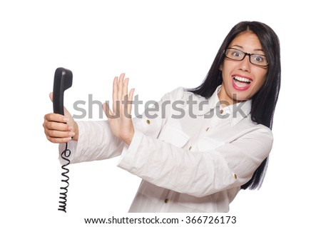 Woman in funny business concept on white - stock photo