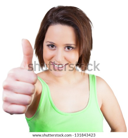 Woman in green top is looking forward - stock photo