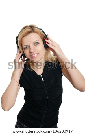 woman in headphones on a white background - stock photo