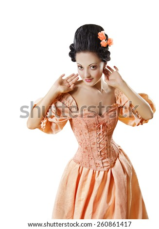 Woman in Historic Baroque Costume Corset, Girl in Rococo Retro Style Dress Flirting Isolated Over White Background - stock photo