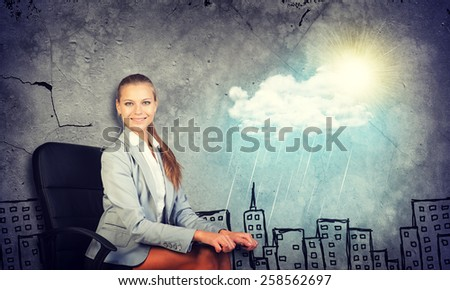 Woman in jacket and blouse smiling holding clipboard and looking at camera. Background sketch of houses, sun, rain and cloud - stock photo