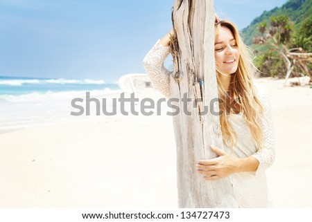 woman in knitted summer dress - stock photo