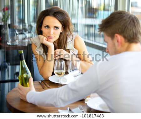 Woman In Love On Romantic Date - stock photo