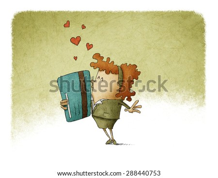 woman in love with a credit card - stock photo
