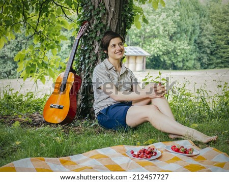 woman in love wondering in the nature - stock photo