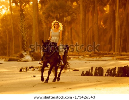 woman in medieval dress on arabian horse on forest beach - stock photo