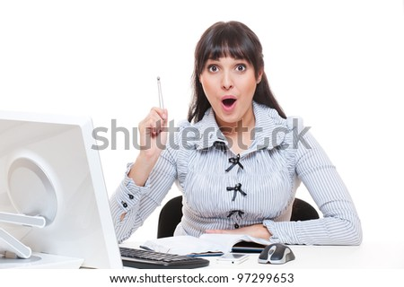 woman in office got an idea. studio shot over white background - stock photo