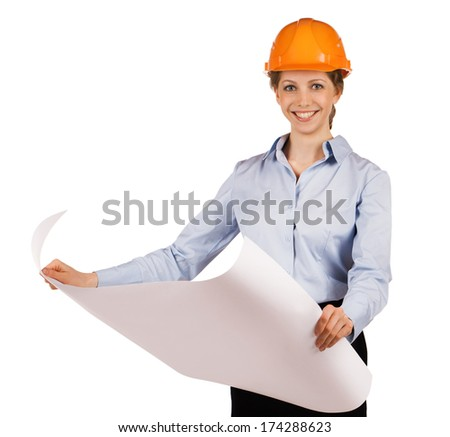 Woman in orange helmet with a detailed plan - stock photo