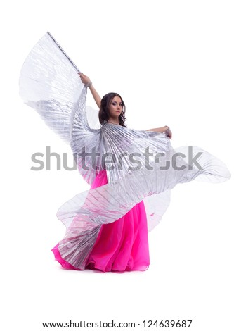 woman in oriental dance with wings isolated - stock photo