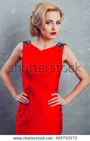 woman in perfect red dress - stock photo