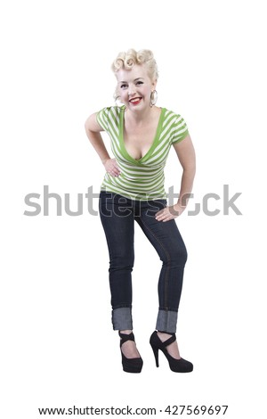 Woman in pin-up dress posing - Isolated White Background - stock photo