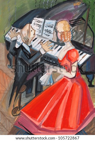 woman in red dress and pianist on music lesson - stock photo