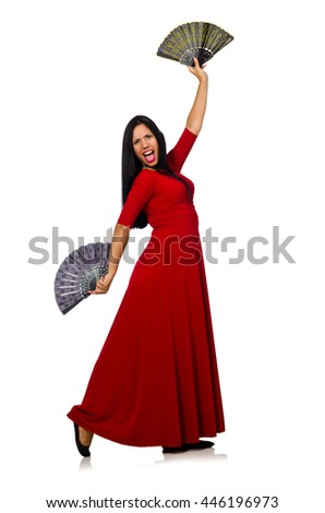 Woman in red dress with fan isolated on white - stock photo