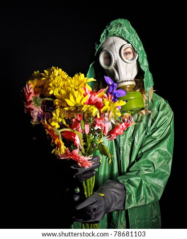 Woman in respirator. Radiation. - stock photo