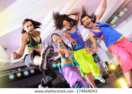 woman in sport dress at an aerobic exercise - stock photo