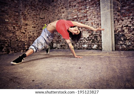 woman in sport dress dancing new fitness dance called  - stock photo