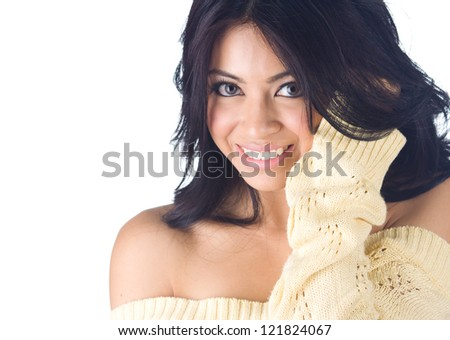 Woman in sweater on white  background - stock photo