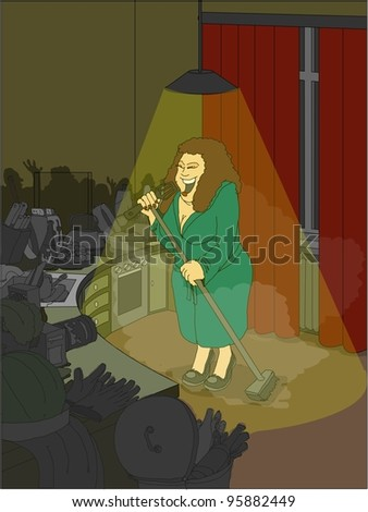 Woman in the kitchen singing imaginary audience - stock photo