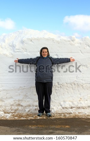woman in the snow - stock photo