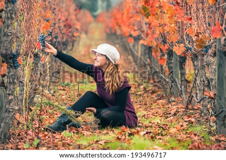 Woman in the vineyard with a beautiful autumn scenery - stock photo