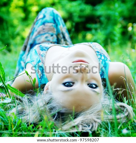 woman in the woods - stock photo