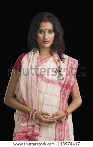Woman in traditional Bengali dress - stock photo