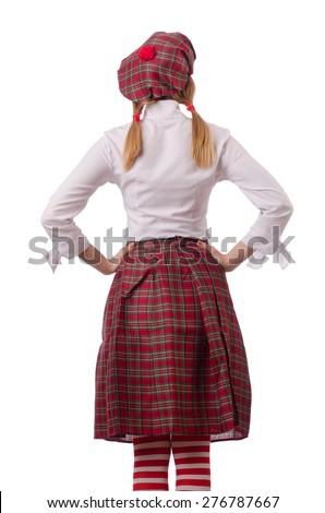 Woman in traditional scottish clothing - stock photo