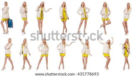 Woman in various poses isolated on white - stock photo