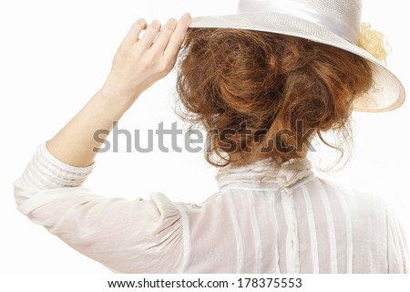 Woman in victorian clothing isolated on white background - stock photo