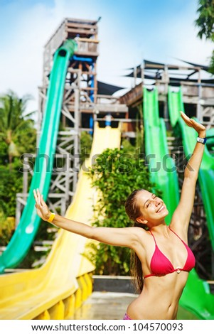 woman in waterpark - stock photo