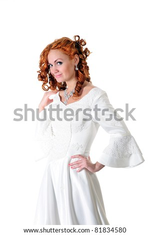 woman in white wedding dress, isolated on white - stock photo