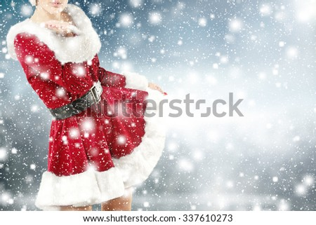 woman in winter time  - stock photo