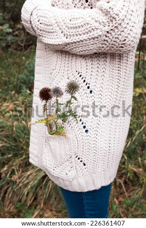 Woman in wool sweater having thistle in her pocket  - stock photo