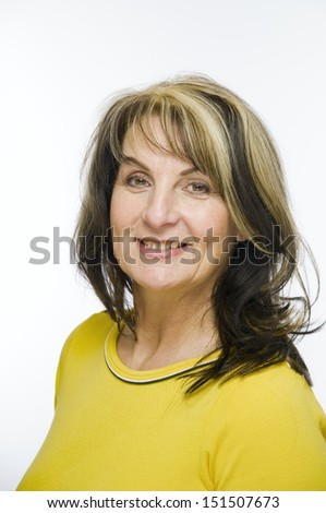woman in yellow - stock photo