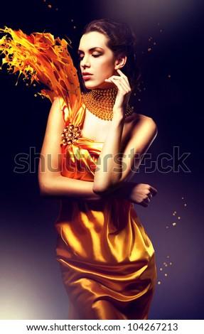 woman in yellow dress - stock photo