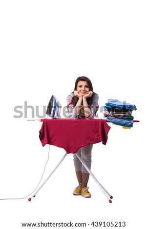 Woman ironing clothing isolated on white - stock photo