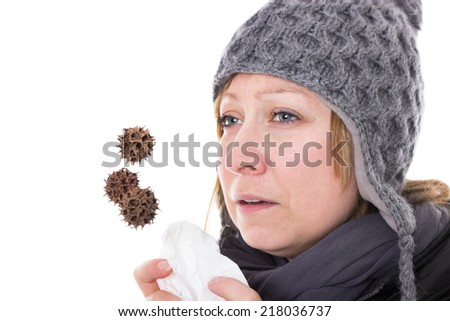 Woman is getting sick due to viruses and bacteria - stock photo