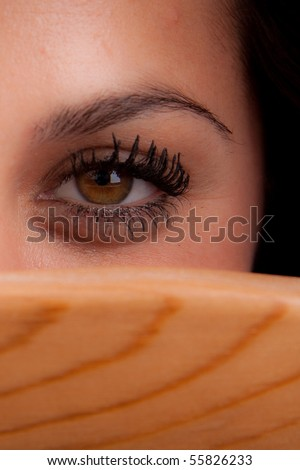 Woman is hiding - stock photo