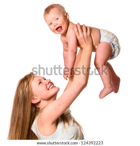 woman is holding her baby on hands - stock photo