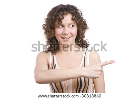 Woman is pointing to the right and smiling Beautiful girl is showing a direction with her hands. Isolated on a white background. - stock photo