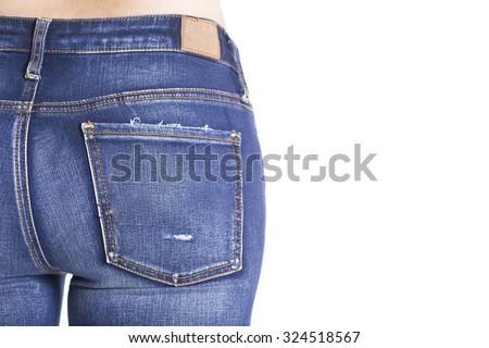 woman is wearing blue jeans, on white background - stock photo
