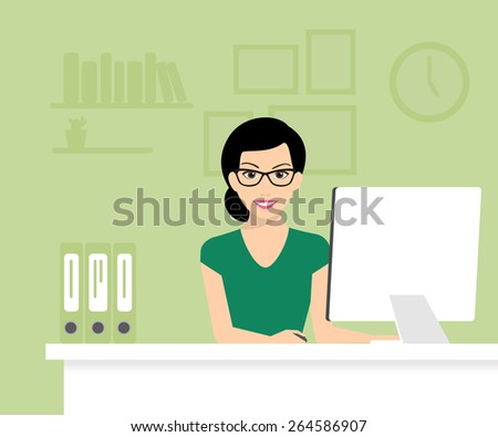 Woman is wearing glasses and working with computer. Flat modern illustration - stock photo